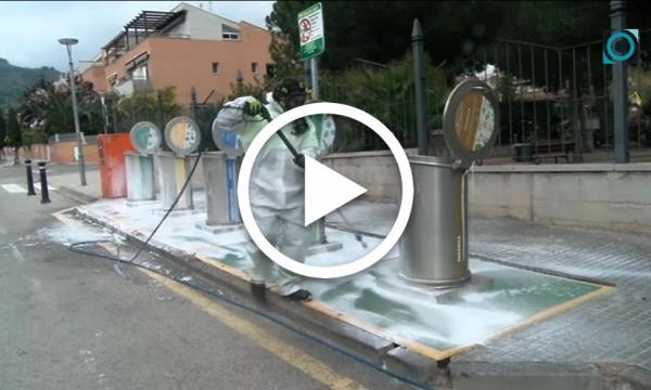 Les empreses de serveis i l'Ajuntament reforcen les tasques de desinfecció de la via pública